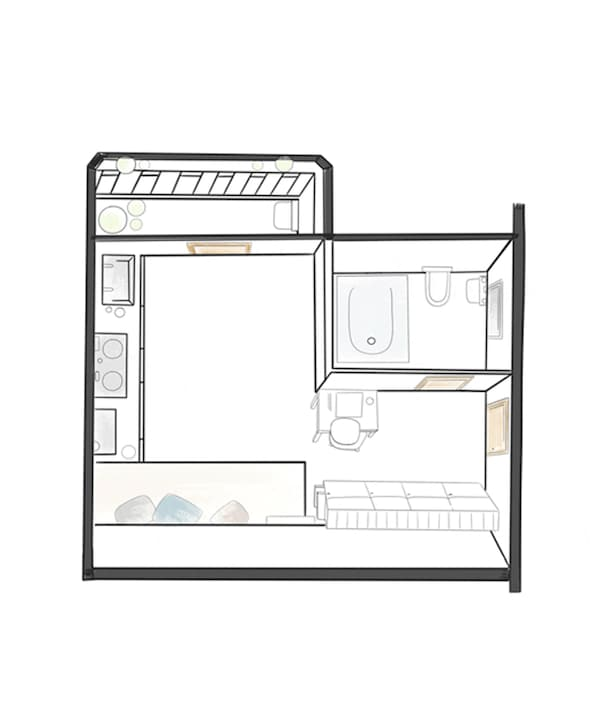 A floorplan of Rhianna's tiny apartment.