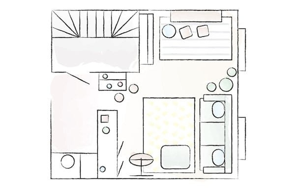 A floorplan of Ringa's living room in Amsterdam.