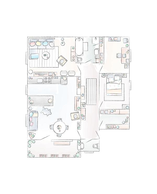 A floorplan of Steffen's apartment.
