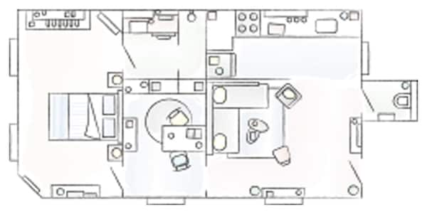 A floorplan of Stéphanie and Patricia's apartment.