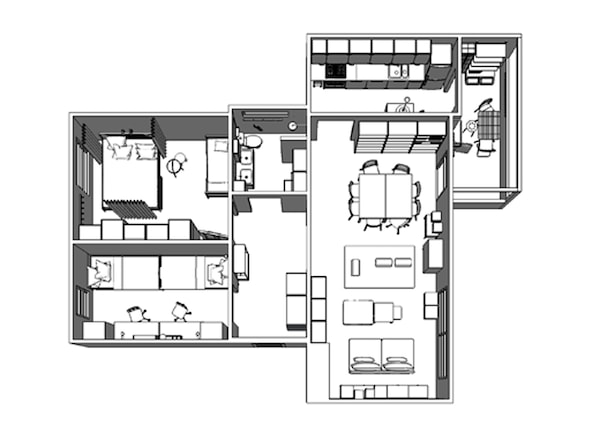A floorplan of the family apartment.