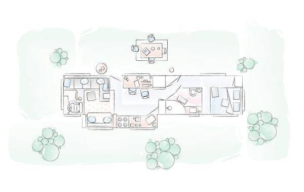 A floorplan of Toni and Karlton's home.