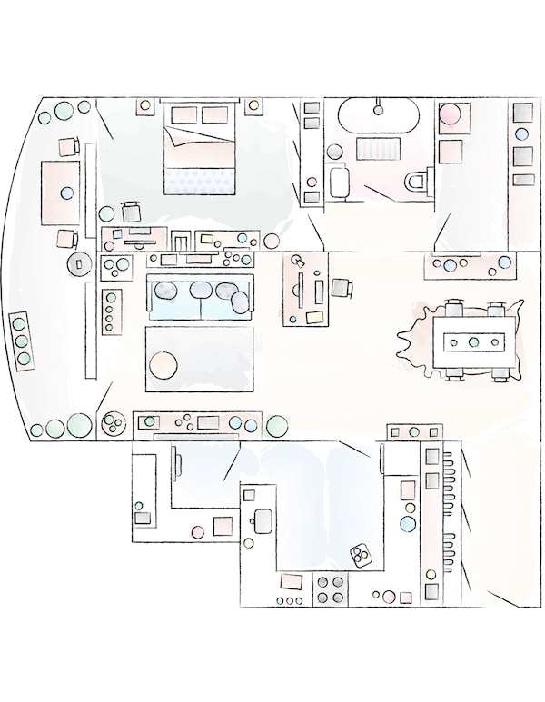 A floorplan of Yiqing and Derrick's apartment.