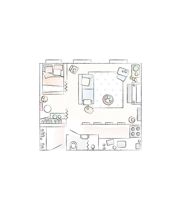 A floorplan of Yvet's home.