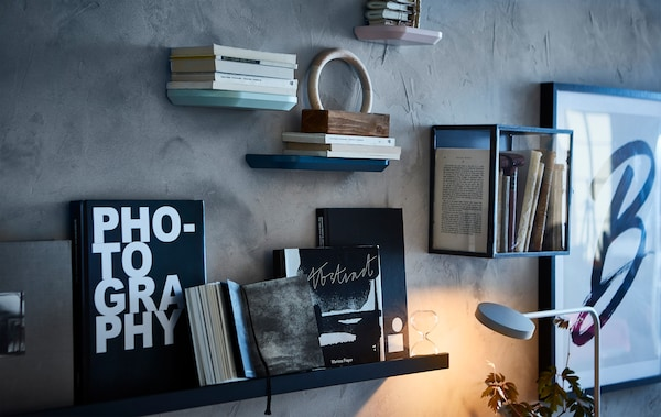 A gallery style wall displaying artworks and books in display cabinets and on picture ledges.