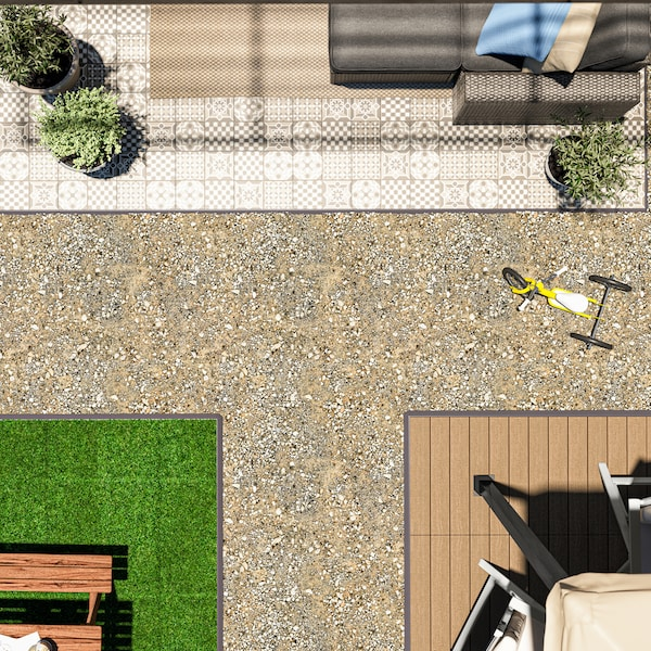 A garden terrace with different types of flooring, including MÄLLSTEN decking with plants and an armchair on it.