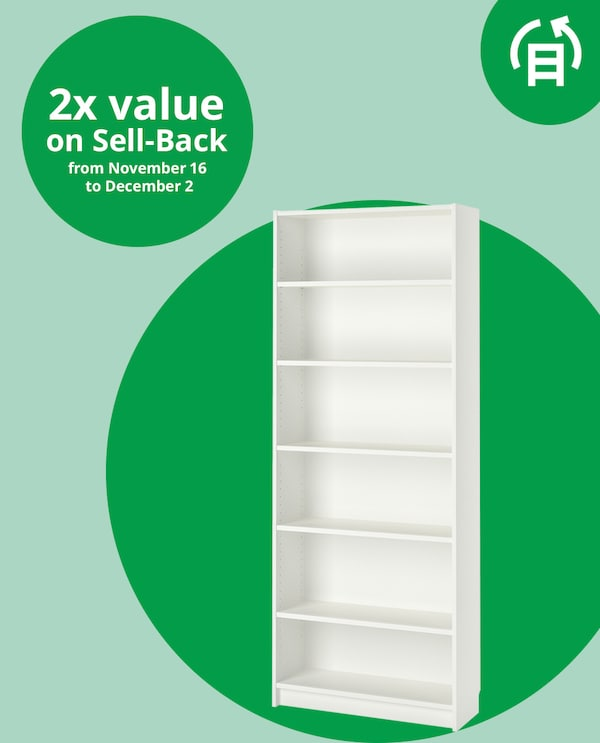 A gently used BILLY bookcase, along with the message 2x value on Sell-Back from November 16 to December 2.