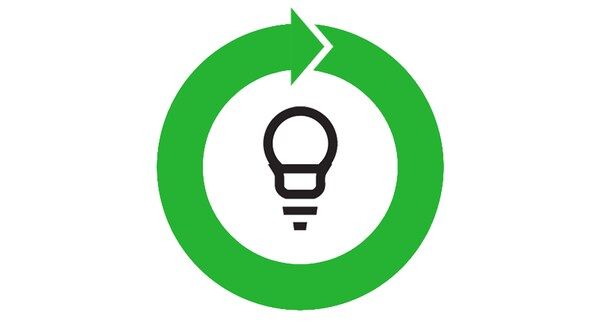 A graphic with a light bulb with a green arrow around it