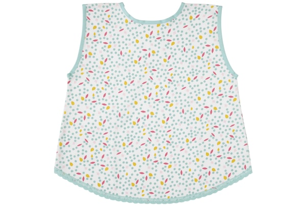 A green and white patterned child's apron.