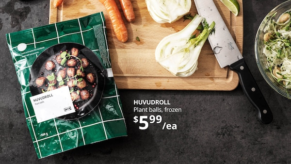 A green package of veggie balls near a cutting board and a knife. HUVUDROLL Plant balls, frozen, $5.99/ea