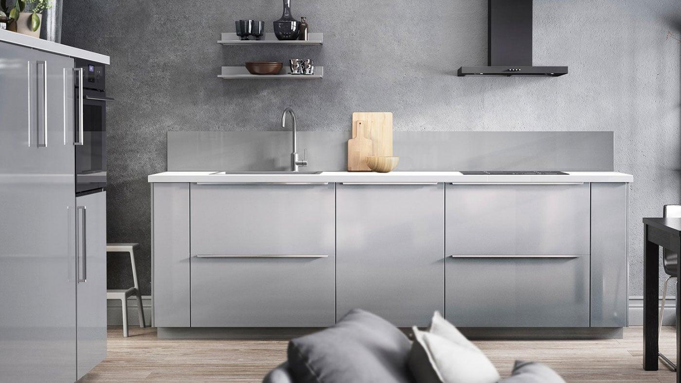 Ringhult High Gloss Light Grey Kitchen Ikea Ireland