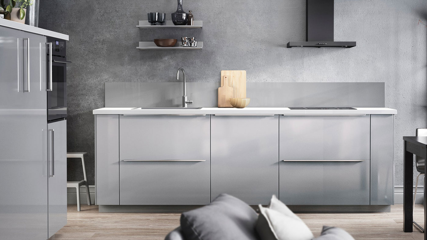 Image of: Ringhult High Gloss Light Grey Kitchen Ikea Ireland