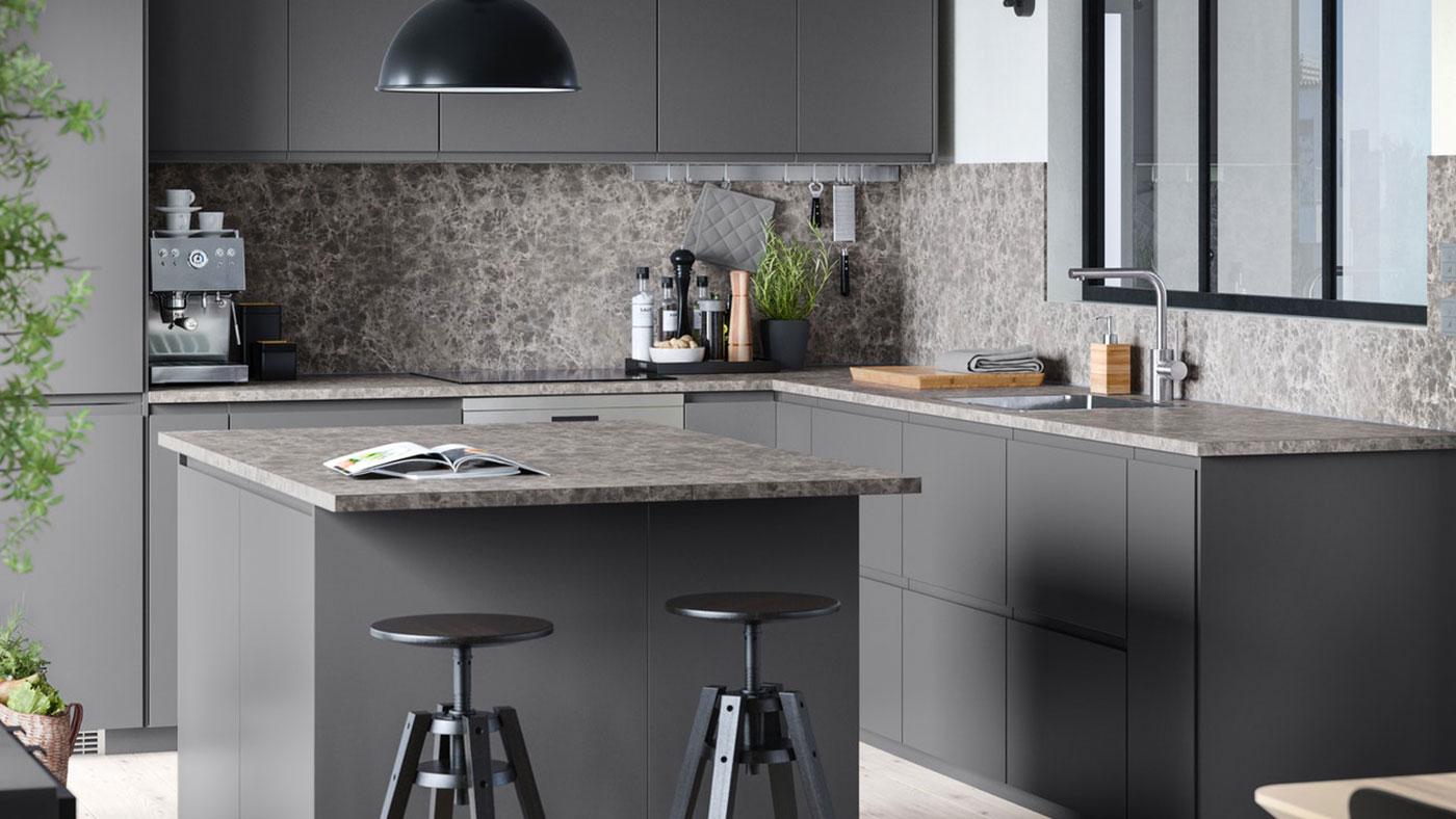 Image of: Voxtorp Dark Grey Handleless Kitchen Ikea