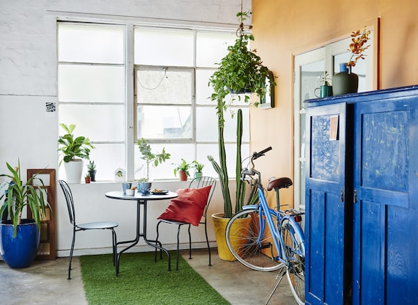A hallway with orange wall, blue cabinet, house plants and a small table.