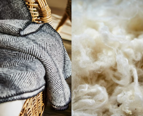 A herringboned patterned wool throw on a wicker chair, beside a close-up of raw wool.