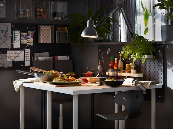 A Work Space By Day And A Dining Room In The Evening Ikea