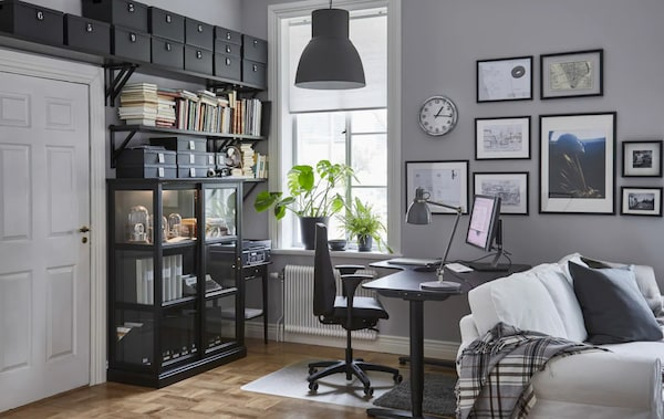 a home office that's ergonomically designed includes an adjustable chair