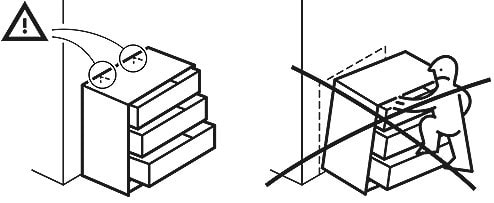 A illustration on a drawer attached to the wall and no climbing on the drawer