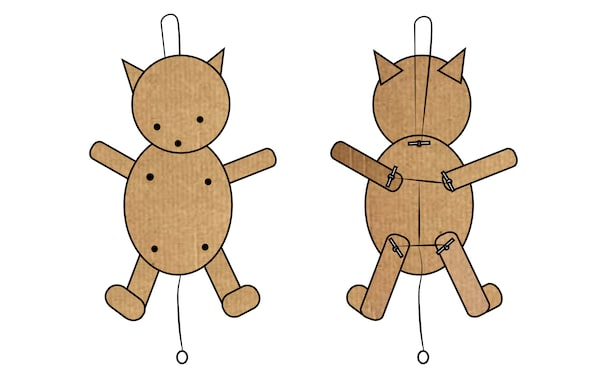 A Jumping Jack in the shape of a bear made in cardboard.