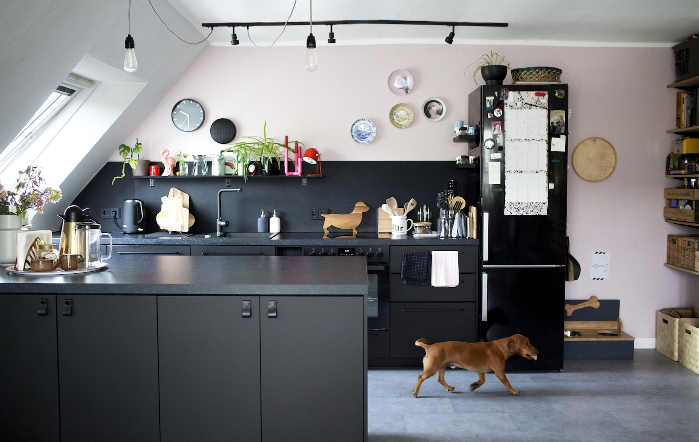 A kitchen area with a black, white and pastel-pink open kitchen with light bulbs hanging from the ceiling, and a dog.