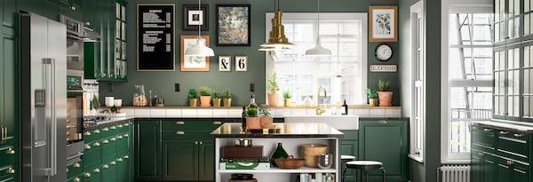 Green Kitchen Cabinets Bodbyn Series Ikea