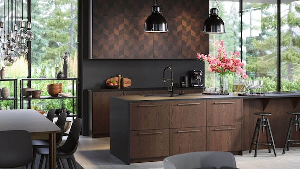 Dark Brown Kitchen Cabinets Sinarp Series Ikea