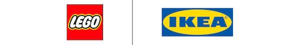 A LEGO logója és az IKEA logója egymás mellett egy fekete függőleges vonallal elválasztva.