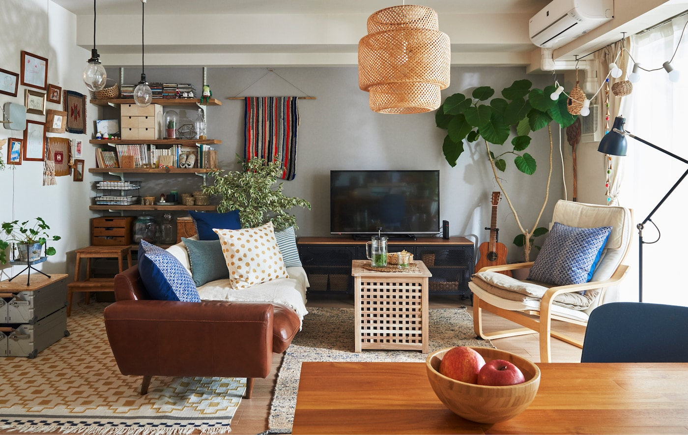 A living room with sofa, armchair, table, shelves and TV unit, and a large plant in the corner.
