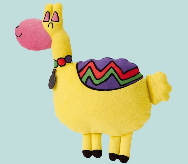 A Llama soft toy from the SAGOSKATT Collection against a light blue background.