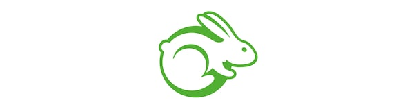 A logo of a rabbit in a green outline against a white background.