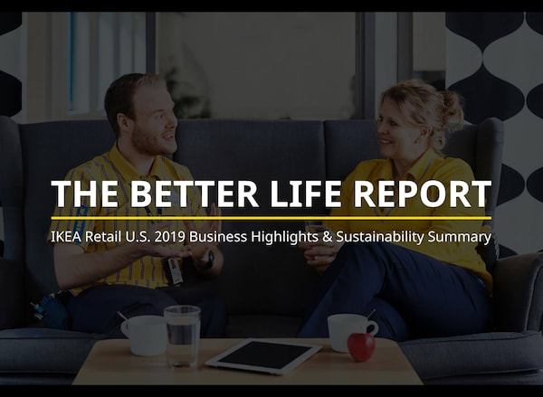A man and a woman in IKEA uniforms sitting on a sofa with text: The Better Life Report