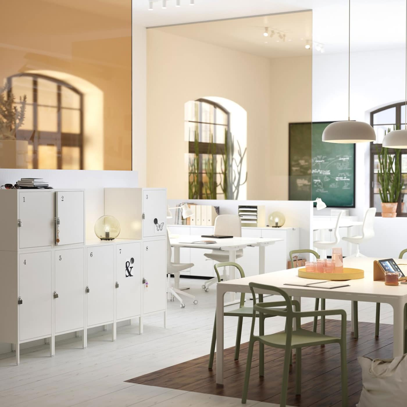 A medium sized, white and beige office workspace with practical, lockable, IKEA HÄLLAN white storage cabinets.
