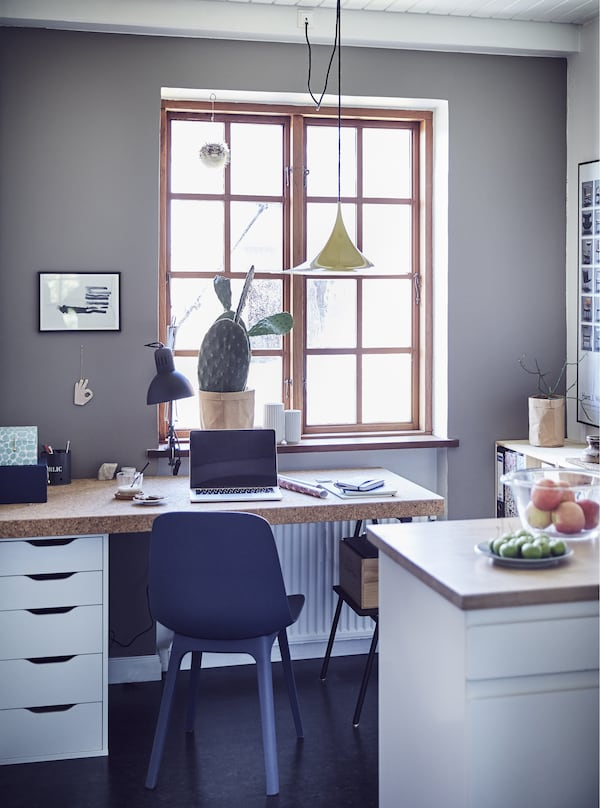 A minimal home office.