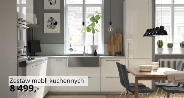 A modern, bright IKEA METOD kitchen, with white RINGHULT doors and drawers, with stainless steel sink bowl, in an open living space.