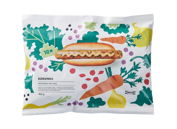 A pack of hot dogs with plant illustrations.