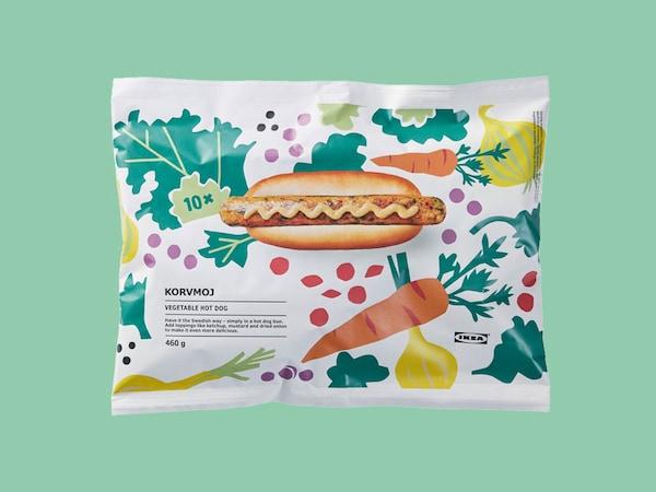 A package of KORVMOJ veggie dogs