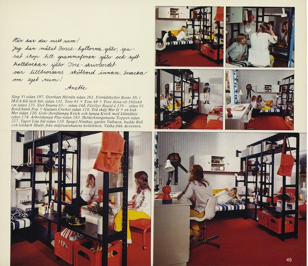 A page from the 1974 IKEA catalogue with inspirational images of IVAR.