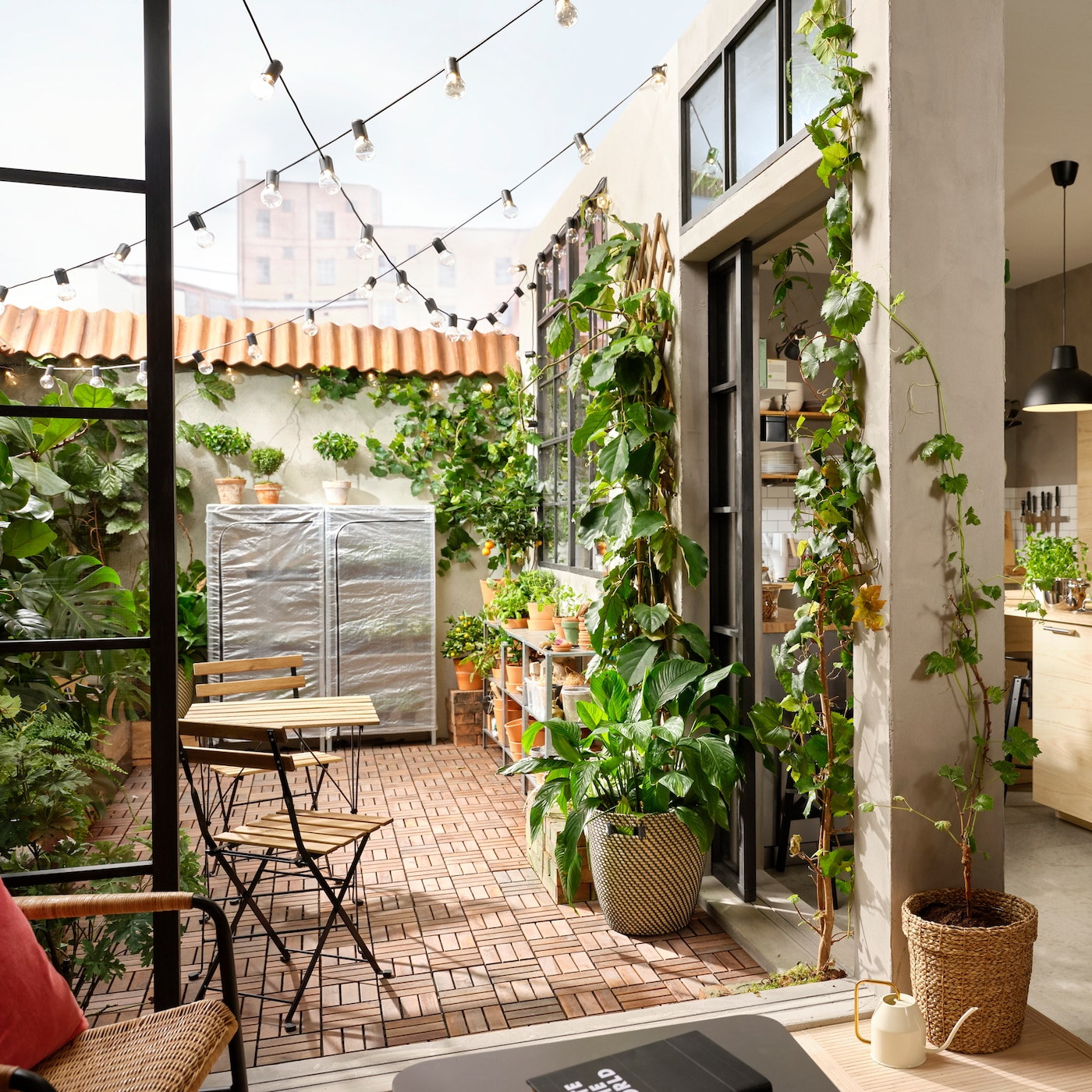 A patio with a wooden floor decking, lots of green plants, hanging LED lighting chains and an outdoor table and two chairs.