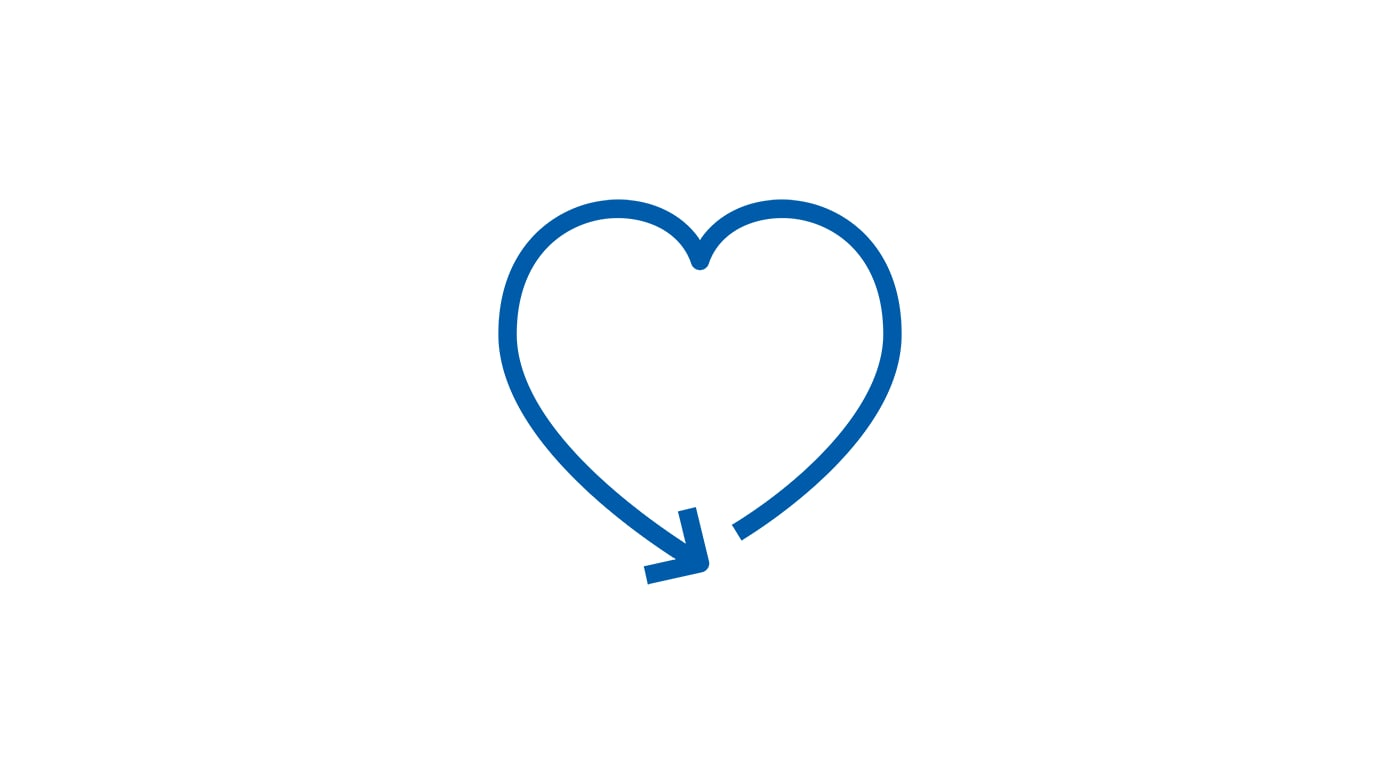 A pictogram of a blue heart ending in an arrow to symbolise a pleasant experience with an IKEA return.