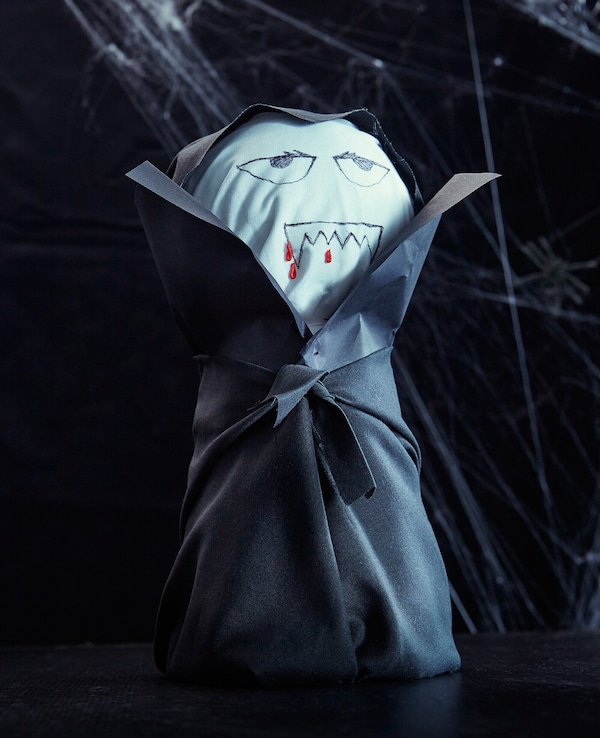 A picture of a DIY Dracula decoration.