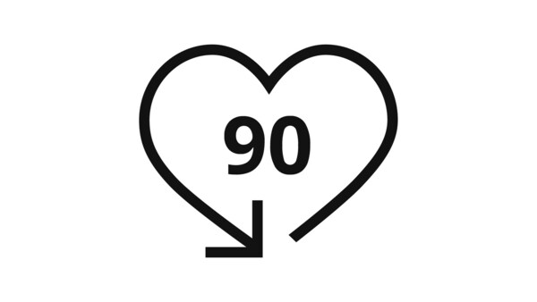 A picture of a heart with the number 90 written in it signifying the 90 days return policy