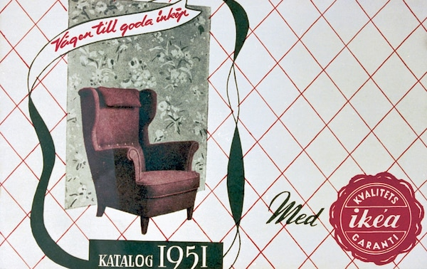 A picture of the very first IKEA catalog that was published in 1951. It includes a red armchair on the cover.