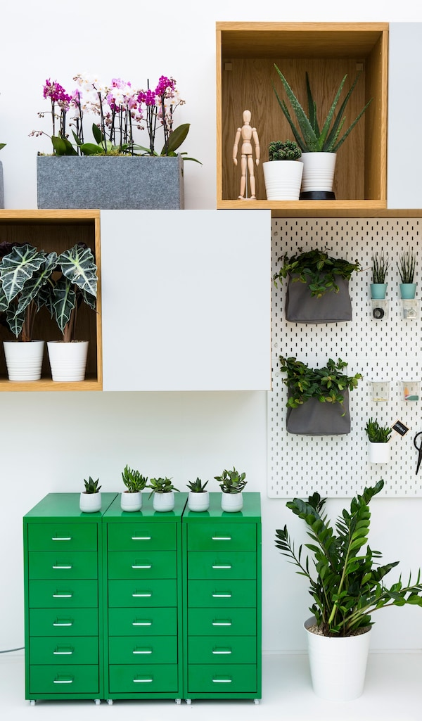 A plant filled area with three green drawer units sitting in a row under a wall cabinet