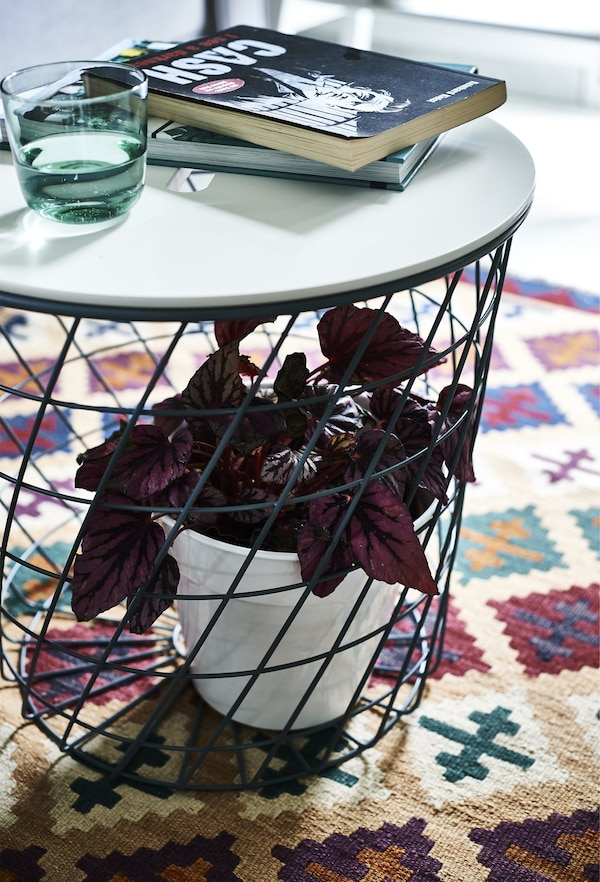 A plant inside the base of a coffee table on a patterned rug.