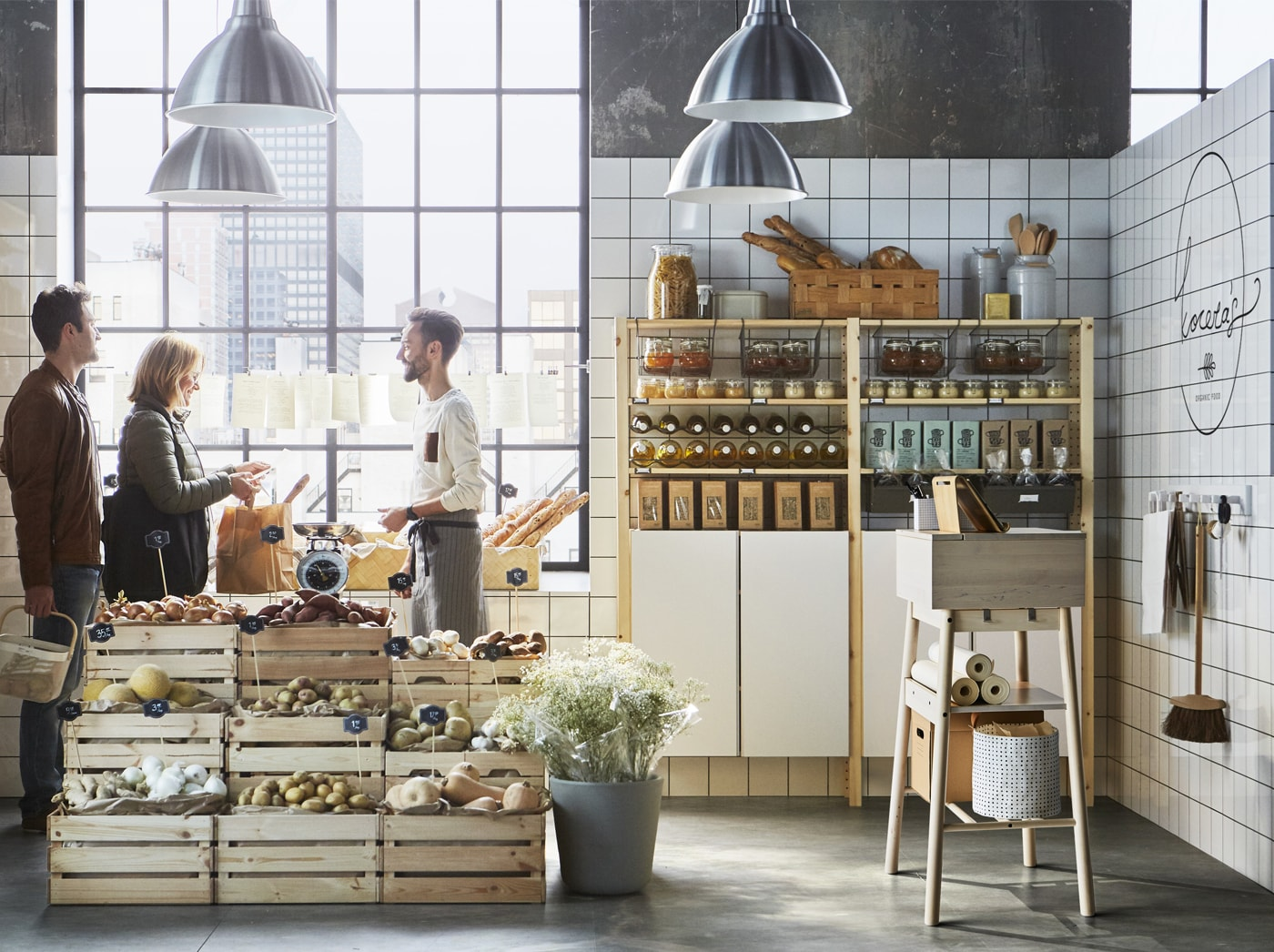 A pop-up produce store using natural pine IVAR and KNAGGLIG for display stands