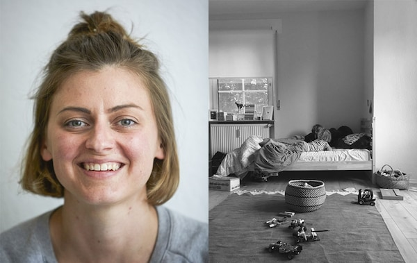 A portrait of Nina and a black and white picture of one corner of a children's room with a bed and a large rug.