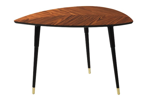 A product picture of the IKEA LÖVBACKEN dark wood table, sold at IKEA in 1956 and the first to be sold in a flat-pack.