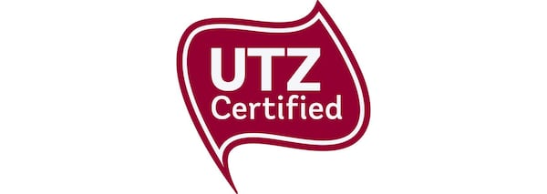 A red logo with white text that says UTZ certified, which IKEA has done for its coffee and tea products since 2008.