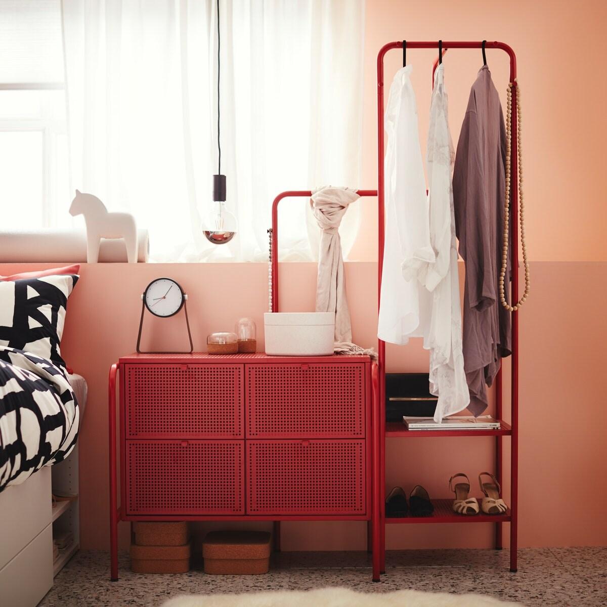 A red storage unit