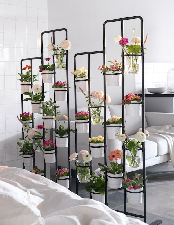 A room divider as a vertical flowerbed.